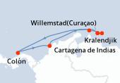 Willemstad(Curaçao), Kralendjik, Aruba, Navegación, Colón, Cartagena de Indias, Navegación, Willemstad(Curaçao)