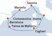 Palma de Mallorca, Palma de Mallorca, Cagliari, Civitavecchia - Roma, Savona, Marsella, Barcelona, Palma de Mallorca