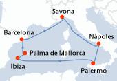 Palma de Mallorca, Barcelona, Savona, Nápoles, Palermo, Navegación, Ibiza, Ibiza, Palma de Mallorca