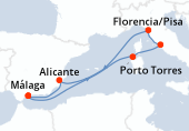 Málaga, Navegación, Porto Torres, Civitavecchia - Roma, Florencia/Pisa, Navegación, Alicante, Málaga