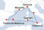 Palma de Mallorca, Valencia, Marsella, Genova, Civitavecchia - Roma, Palermo, Cagliari, Palma de Mallorca