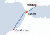Málaga, Casablanca, Tánger, Málaga