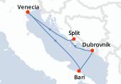 Venecia, Bari, Dubrovnik, Split, Venecia