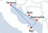 Bari, Dubrovnik, Split, Venecia, Bari