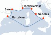 Barcelona, Navegación, Nápoles, Civitavecchia - Roma, Florencia/Pisa, Villefranche/ Niza, Sete, Barcelona