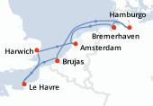 Bremerhaven, Amsterdam, Harwich, Le Havre, Brujas, Navegación, Hamburgo, Bremerhaven