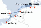 Amsterdam, Harwich, Le Havre, Brujas, Navegación, Hamburgo, Bremerhaven, Amsterdam