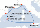 Palma de Mallorca, Navegación, Palermo, Civitavecchia - Roma, Savona, Marsella, Barcelona, Palma de Mallorca