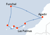 Las Palmas, Santa Cruz de Tenerife, Santa Cruz de la Palma, Funchal, Navegación, Agadir, Arrecife (Lanzarote), Las Palmas