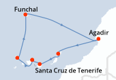 Santa Cruz de Tenerife, Santa Cruz de la Palma, Funchal, Navegación, Agadir, Arrecife (Lanzarote), Las Palmas, Santa Cruz de Tenerife