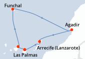 Las Palmas, Santa Cruz de Tenerife, Funchal, Funchal, Navegación, Agadir, Arrecife (Lanzarote), Las Palmas