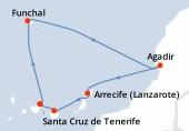 Santa Cruz de Tenerife, Funchal, Funchal, Navegación, Agadir, Arrecife (Lanzarote), Las Palmas, Santa Cruz de Tenerife