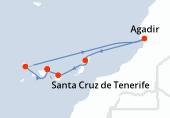 Santa Cruz de Tenerife, Santa Cruz de la Palma, Santa Cruz de la Palma, Navegación, Agadir, Arrecife (Lanzarote), Las Palmas, Santa Cruz de Tenerife