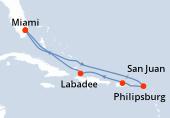Miami, Navegación, Navegación, Philipsburg, San Juan, Labadee, Navegación, Miami