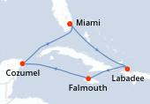 Miami, Navegación, Labadee, Falmouth, Navegación, Cozumel, Navegación, Miami