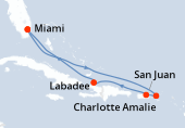 Miami, Navegación, Navegación, Charlotte Amalie, San Juan, Labadee, Navegación, Miami