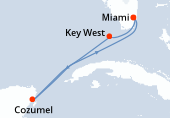 Miami, Key West, Navegación, Cozumel, Navegación, Miami