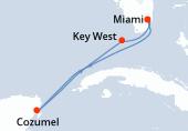 Miami, Navegación, Cozumel, Navegación, Key West, Miami