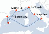 Barcelona, Palma de Mallorca, Marsella, La Spezia, Civitavecchia - Roma, Nápoles, Navegación, Barcelona