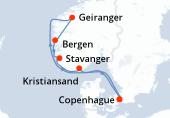 Copenhague, Navegación, Geiranger, Bergen, Stavanger, Kristiansand, Navegación, Copenhague