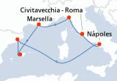 Civitavecchia - Roma, Nápoles, Navegación, Barcelona, Palma de Mallorca, Marsella, La Spezia, Civitavecchia - Roma