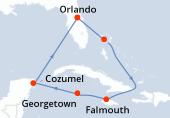 Orlando, Great Stirrup Cay, Navegación, Falmouth, Falmouth, Georgetown, Cozumel, Navegación, Orlando