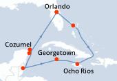 Orlando, Great Stirrup Cay, Navegación, Ocho Rios, Georgetown, Navegación, Belize (harvest caye), Costa Maya, Cozumel, Navegación, Orlando