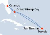 Orlando, Navegación, Navegación, Tortola, San Thomas, Navegación, Great Stirrup Cay, Orlando