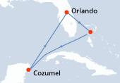 Orlando, Great Stirrup Cay, Navegación, Cozumel, Navegación, Orlando