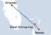 Orlando, Nassau, Great Stirrup Cay, Navegación, Orlando
