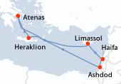 Atenas, Navegación, Limassol, Haifa, Haifa, Ashdod, Ashdod, Ashdod, Navegación, Heraklion, Atenas