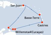 San Juan, Navegación, Oranjestad, Willemstad(Curaçao), Kralendjik, Castries, Basse-Terre, San Juan