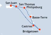 San Juan, Navegación, Bridgetown, Castries, Basse-Terre, Philipsburg, San Thomas, San Juan