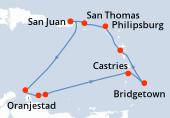 San Juan, Navegación, Oranjestad, Willemstad(Curaçao), Kralendjik, Castries, Bridgetown, Basse-Terre, Philipsburg, San Thomas, San Juan