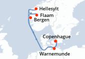 Copenhague, Warnemunde, Navegación, Bergen, Flaam, Hellesylt, Navegación, Copenhague