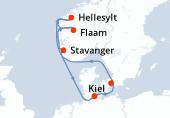 Kiel, Copenhague, Navegación, Hellesylt, Flaam, Stavanger, Navegación, Kiel