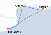 Barcelona, Toulon, Sete, Barcelona