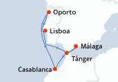 Málaga, Casablanca, Navegación, Oporto, Lisboa, Lisboa, Tánger, Málaga