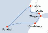 Lisboa, Navegación, Funchal, Navegación, Casablanca, Tánger, Cadiz, Lisboa