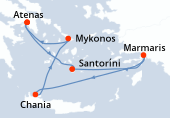 Atenas, Atenas, Santoríni, Marmaris, Navegación, Chania, Mykonos, Atenas