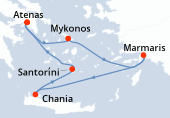 Atenas, Atenas, Mykonos, Marmaris, Navegación, Chania, Santoríni, Atenas