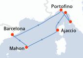Barcelona, Navegación, Portofino, Piombino, Portovenere, Ajaccio, Mahon, Barcelona