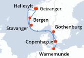 Copenhague, Navegación, Hellesylt, Geiranger, Bergen, Stavanger, Gothenburg, Warnemunde, Copenhague
