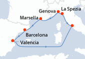 Valencia, Navegación, Civitavecchia - Roma, La Spezia, Genova, Marsella, Barcelona, Valencia