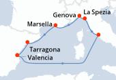 Valencia, Navegación, Civitavecchia - Roma, La Spezia, Genova, Marsella, Tarragona, Valencia