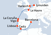 Barcelona, Navegación, Cadiz, Lisboa, Vigo, La Coruña, Navegación, Le Havre, Harwich, Ijmuiden
