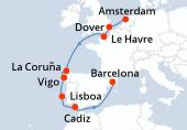 Amsterdam, Dover, Le Havre, Navegación, La Coruña, Vigo, Lisboa, Cadiz, Navegación, Barcelona