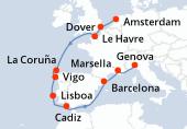 Amsterdam, Dover, Le Havre, Navegación, La Coruña, Vigo, Lisboa, Cadiz, Navegación, Barcelona, Marsella, Genova