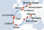 Bremerhaven, Amsterdam, Dover, Le Havre, Navegación, La Coruña, Vigo, Lisboa, Cadiz, Navegación, Barcelona, Marsella, Genova