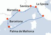 Palma de Mallorca, Navegación, Civitavecchia - Roma, La Spezia, Savona, Marsella, Barcelona, Palma de Mallorca